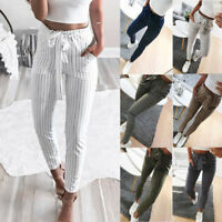 Women Lady Ankle-length Pants Trousers Fashion Middle Waist Slim With Belt Pants