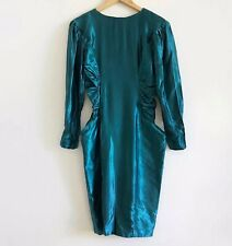 Vintage 70s Shiny Teal Long Sleeve Ruched Button Back Party Dress Editorial