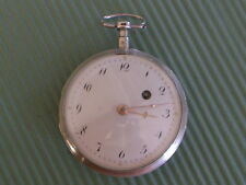 VERGE FUSEE HEXAGONAL PILLARS FRONT WIND SILVER POCKET WATCH GOOD STAFF