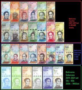 Venezuela Full Set 2 - 100,000 Bolivares, 2-500 Soberanos plus 6 newest -27 PCS