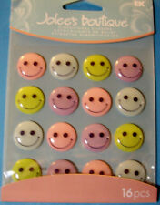 NEW 12 PC PASTEL SMILEY FACES CABOCHONS 3D Stickers Embellishments  JOLEE'S
