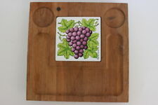 Vintage Georges Briard Square Wooden Serving Tray Gold Tile Purple Grapes Leaves