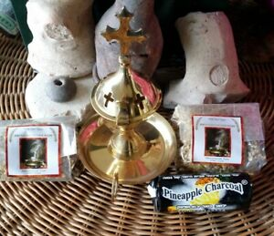 Brass burner and 2 Jerusalem Natura FrankIncense resin from Holy Land ,100g each