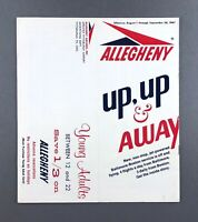 ALLEGHENY AIRLINE TIMETABLE AUGUST - SEPTEMBER 1967 FLIGHT SCHEDULE DOUGLAS DC-9