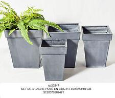 Set 4 cachepot quadrati metallo zincato altezza cm 49/46/43/40