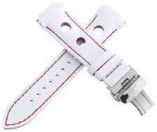 Authentic Tissot 20mm Men's White Leather Watch Band Strap W/ Titanium Buckle