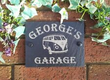 Personalised Slate Garage  Plaque Sign  Volkswagen Camper Deign 17x13cm VW
