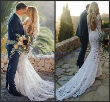 Gorgeous Bohemian Wedding Dress White/Ivory Lace Mermaid Bridal Gown Long Sleeve