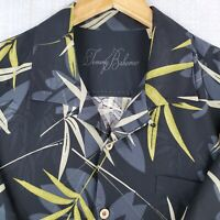 TOMMY BAHAMA Size XL 100% Silk Mens Bamboo Leaves Black Hawaiian Camp Shirt
