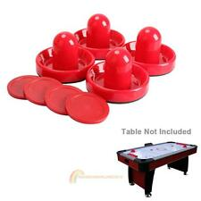 4Pcs Air Hockey Table Goalies with 4pcs Puck Felt Pusher Mallet Grip Red Plastic