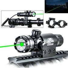 30MW Green Dot Laser Sight Gun Rail Mount Dual Ring & Remote Switch For Hunting