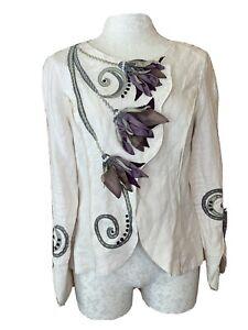CoVelo Clothing Inc.  Artsy Floral 100% Linen Blouse Light Jacket Size 6 Purple