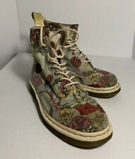 Vegan Doc Martens~Cashlin Light Blue With Flowers~canvas~size 9US