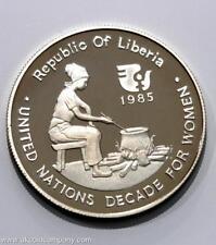 1985 Republic of Liberia Argent preuve $10 Dix Dollars Pièce