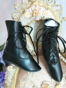 Vintage Ancien Français Mode Poupée Bottes Haut Chaussures Noir Dentelle Up