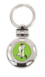Lawn Bowls Male Bowler Award Round Keyring in gift box (CB) ENGRAVED FREE