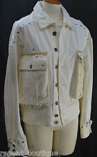BIS Paris Beverly Hills Couture Rare Ivory Jean Jacket light coat  P M VTG 80s