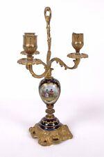 French Gilt Bronze & Porcelain Candlestick Candelabra Louis XVI Sevres Style