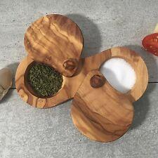 Salt & Pepper Server Set from Olive Wood / Spice Pot Caddy / natural, handmade