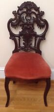 Antique Rococo Victorian Belter Inspired Ornate Carved Side Parlor Chair