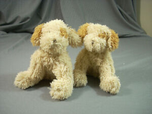 """Vermont Teddy Bear Lot Of 2 Cream 6"""" Tan Plush Lovey Friend For Life Puppy Nice"""