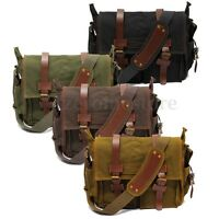 Men's Vintage Canvas Bag Leather Satchel School Military Shoulder Bag Messenger