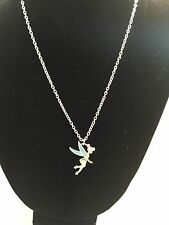 Disney Tinkerbell Necklace In Silver Tone With Green/Teal Enamel Sparkle Accent