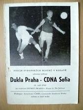 1961 Programme DUKLA PRAHA v CDNA SOFIA, 13 Zari