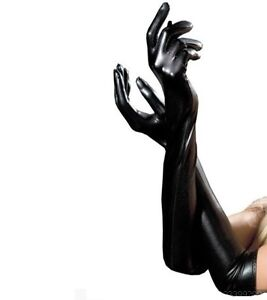 Sexy Black Dungeon Fetish Night Party Shining PVC Latex Wet Look Gloves UK Store
