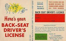 Back-Seat Driver's License Comic Postcard