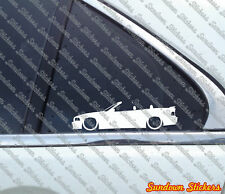 2X Lowered car outline stickers - for Bmw E36 3-series m3 Convertible |with wing