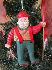 Randy Tate Midwest Christmas Ornament Santa Fishing In Waders&Holding Fish
