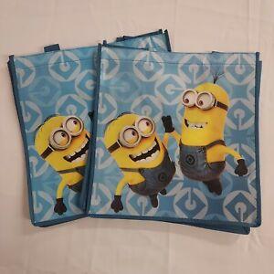 2 Despicable Me Bob Kevin Minions Reusable Shopper Totes Gift Bags Polypropylene
