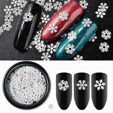 3 Styles Christmas White Snowflake Slice Design Tips Decoration Sequins Nail Art