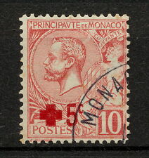 (YYAN 209) Monaco 1914 USED SEMI Red Cross Mich 26 Scott B1 Prince Albert