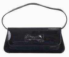 Banned Mimi 50s Rockabilly Varnished Shiny Glossy Clutch Purse Black Bow Handbag