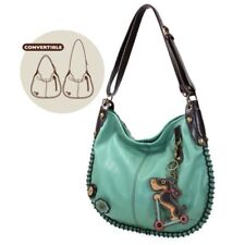 Chala CONVERTIBLE Hobo Large Tote Bag Vegan Leather SCOOTER DOG Teal Green