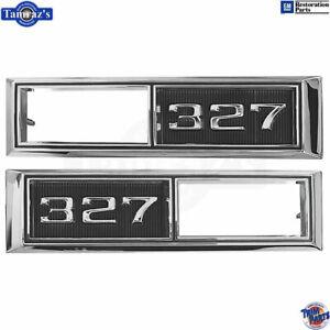 """68-69 for Chevrolet """"327"""" Front Fender Side Marker Light Bezel Chrome Trim PAIR"""