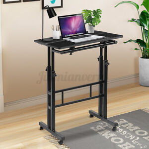 Mobile Height Adjustable Stand Up Desk Computer Stand Workstation W/ Wheels USA