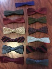 Vtg 50s 60s 13 Bow Tie Lot Clip On Silk Mens Hipster Hep Cat Party Mid-Century