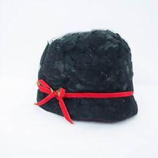 VTG Haya Rochel New York Womens Hat Cloche Netting Mesh Feathers Red Bow