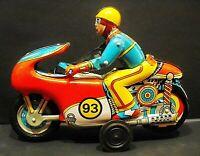Toy Tin OMI 93 Motorcycle Vintage Oriental Metal Industries made in India 1970's