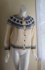 Vintage Women's Blue Nordic Norwegian Fine Fair-Isle Cardigan Sweater Sz S M