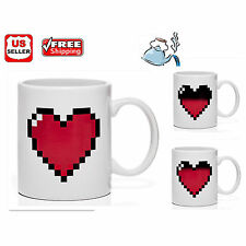 Pixel Heart Magic Coffee Tea Milk Hot Cold Heat Sensitive Color-Changing Mug Cup