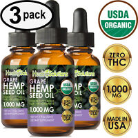 GRAPE Hemp Oil Drops for Pain Relief, Stress, Anxiety, Sleep - (3 PACK)