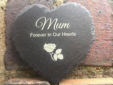 Personalised Engraved Heart Shape Natural Slate  Memorial Marker Garden Plaque