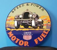 VINTAGE UNION SPEED POWER PORCELAIN GASOLINE MOTOR OIL SERVICE STATION SIGN