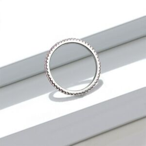 HSN 925 Sterling Ring Pink Stones Gold Eternity Wedding Band