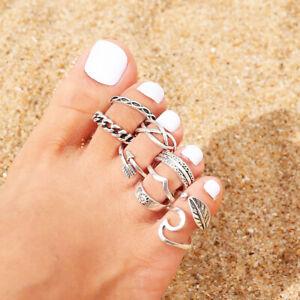 9PCs/set Jewelry Retro Silver Open Toe Ring Finger Foot Ring