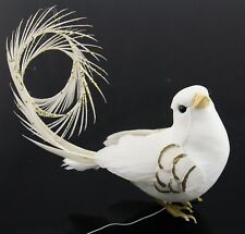 White Gold Bird Curly Tail Feather Christmas Ornament Holiday Decoration